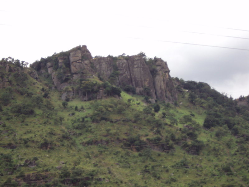 Middle of Mount Krobo.  Showing some of the larger faces.  Taken from road.