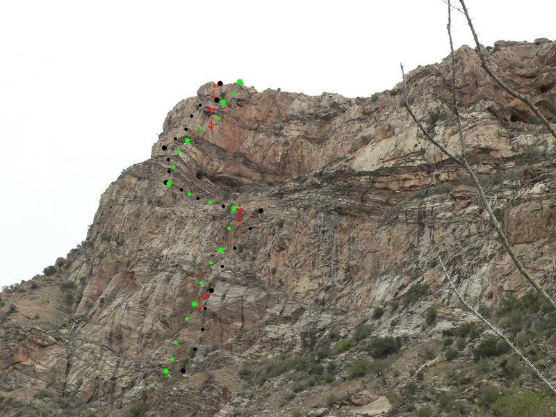 Rock Climbing Photo: SFTS in black, as we climbed it. KRGTV in green. R...