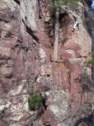 Rock Climbing Photo: Gina on variation of Escalation and Overextension....