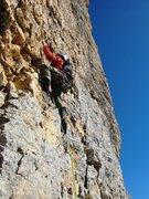 Rock Climbing Photo: Jon gettin' after p5 on Mont Aiguille's Pilier Sud