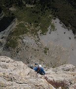 Rock Climbing Photo: Following p8 on Pilier Sud.  Typical exposure (!)