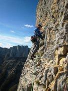 Rock Climbing Photo: Matt on the last hard pitch, p9, Pilier Sud