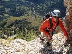 Rock Climbing Photo: Jon tip toes through the gravel at the top of p9 o...