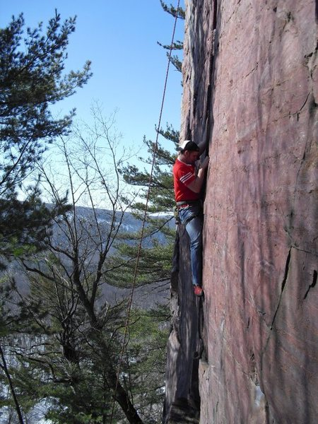 Me moving up through the crux of Birch Tree Crack