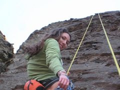 "Rock Climbing Photo: Coming down after cleaning ""Mandatory Suicide..."