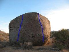 Rock Climbing Photo: Photo/topo for The Iceberg (N Face), Joshua Tree N...