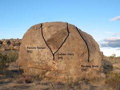 Rock Climbing Photo: Photo/topo for The Iceberg (W Face), Joshua Tree N...