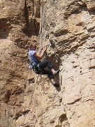 Rock Climbing Photo: Kate working up the scary detached flake that vibr...