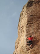 Rock Climbing Photo: On the upper arete, just below the crux.  Photo by...