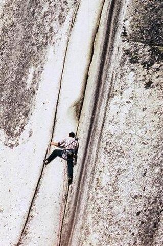 Dave Hessey on Crescent Crack (10d) at the Malamute, Squamish. September 1997.