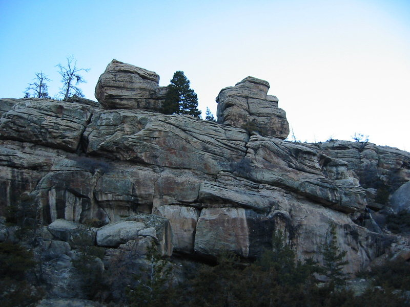 This is the Carcass Crag from bellow.  The boulders on the top of the crag are (right) the Antelope, (left) the Visionary.