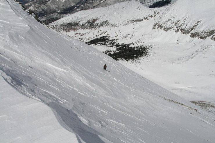 North face variation winter ski descent of Culebra Peak, Sangre De Cristo Range CO.  <br> Skier: AP  <br> Photo: Mike Carr