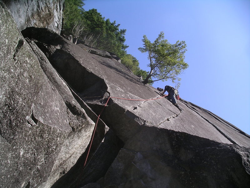 Rock Climbing Photo: A climber about half way up the Great Northern Sla...