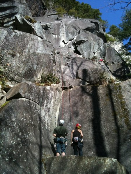 Rock Climbing Photo: Below the Great Northern Slab, looking up at Libra...