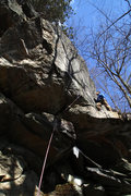 Rock Climbing Photo: im standing on the halfway ledge on the first asce...