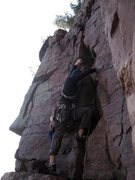 Rock Climbing Photo: 1st piece on Foreplay. My first lead, too.