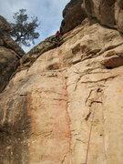 Rock Climbing Photo: Tina on the FA.