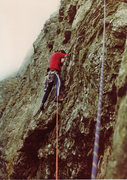 Rock Climbing Photo: Chris Owen on pitch 1 traversing into the shallow ...