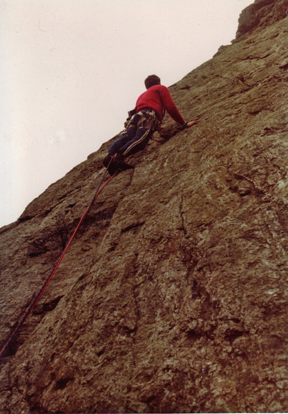 Pitch 3 - My finest hour on Welsh rock, literally - I think I stood there for an hour, fixed in that one spot before plucking up the courage to head up the slab.