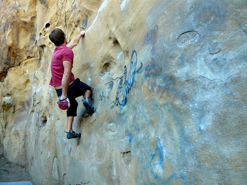 Rock Climbing Photo: Jake Olson traversing it.