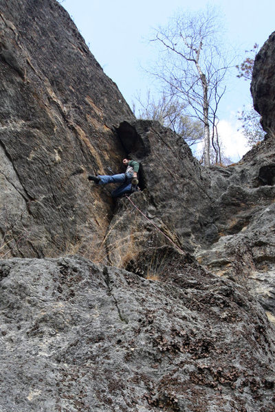 Jakob wedged in to the crux corner