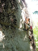 Rock Climbing Photo: Meaghan top ropes one of the routes on the Outback...