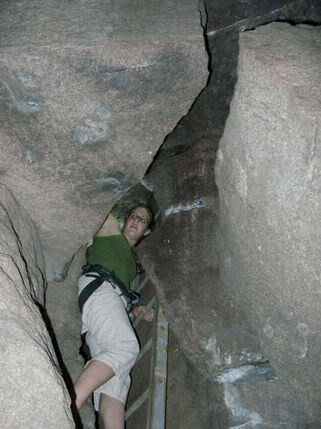 Rock Climbing Photo: Meaghan ascends the ladder to escape the Devils De...