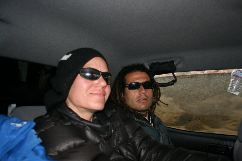 Rock Climbing Photo: Agina and Roger back in the car. 3-7-10