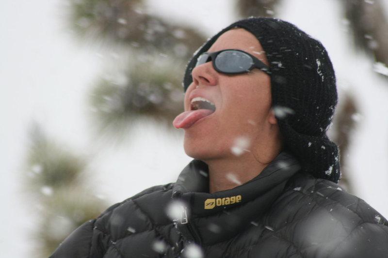 Agina getting a taste of snow.  3-7-10