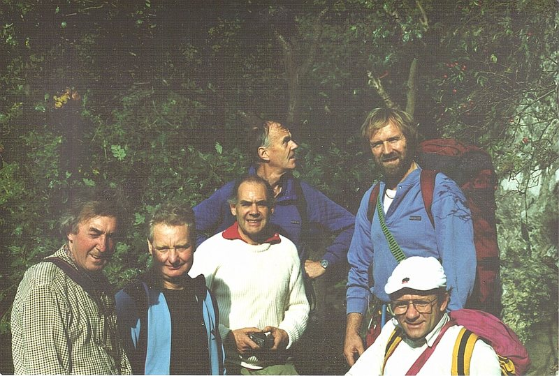 The Gang/about 1989..Shepards crag.L to R .The late Jim Douglas,the late Ray McHaffie,the late Pete Greenwood,Tony Greenbank.Denis Burne-Peare, Paul Ross.