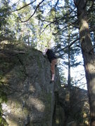 Rock Climbing Photo: Topping out with a mantle.