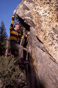 Rock Climbing Photo: Al Dude on Mamma Cat Boulder 1986. Photo by Blitzo...