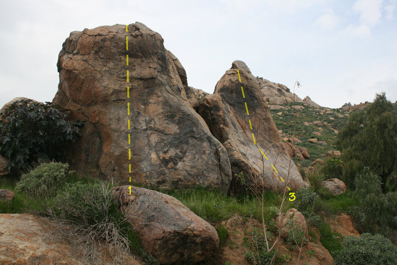 Rock Climbing Photo: Lower Exit Road Boulders 1. Exit Road Left  3. Exi...