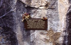 Who is Rob Drysdale? The guy on the plaque on the rock. It amazes me that enough time has passed that many of the climbers pulling down here  may have just been establishing their first steps when Rob and friends were developing the area in the early 90's. Rob had just started school in Flagstaff in 1991. Before that he spent 2 years climbing at Devil's Lake Wisconsin. We called him the Condor because of his long body. Rob was a gentle, soft spoken giant who let his climbing talent do the talking. For those of you lucky enough to call this area home, you have a great guardian spirit in Rob.