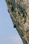 Rock Climbing Photo: 王清华 on the crux, near the top...