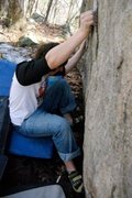Rock Climbing Photo: Getting into the sit start crimp.