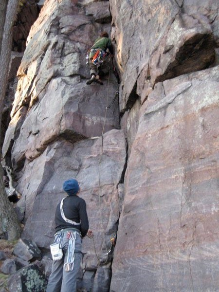 Tim on lead. Andy on stellar belay.