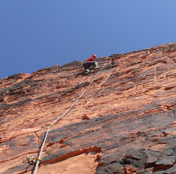 Nearing the top of Sacred Undergarment Squeeze Job.  Fun climb with plenty of bolts.