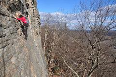 Rock Climbing Photo: Nearing the top of P1.