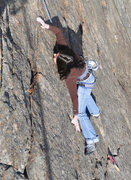 Rock Climbing Photo: Shirley utilizing her gigantic ape index on P1.