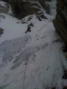 Great White, Little Cottonwood. First lead on ice eva.