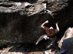 "Rock Climbing Photo: Luke Childers going for the ride on ""Rhino (V..."