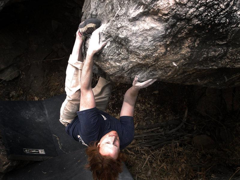 "Rock Climbing Photo: Luke Childers working to cling to ""Carrera (V..."