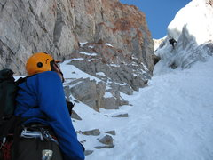 Rock Climbing Photo: Ice in the right fork of the Grunge Couloir Timpan...