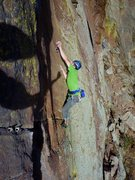 Rock Climbing Photo: Placing gear in the final crack of the Trinity Cra...