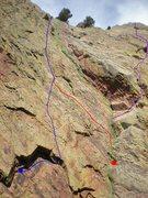 Rock Climbing Photo: Blue is Alice in Bucketland. RED IS REAPER. Green ...