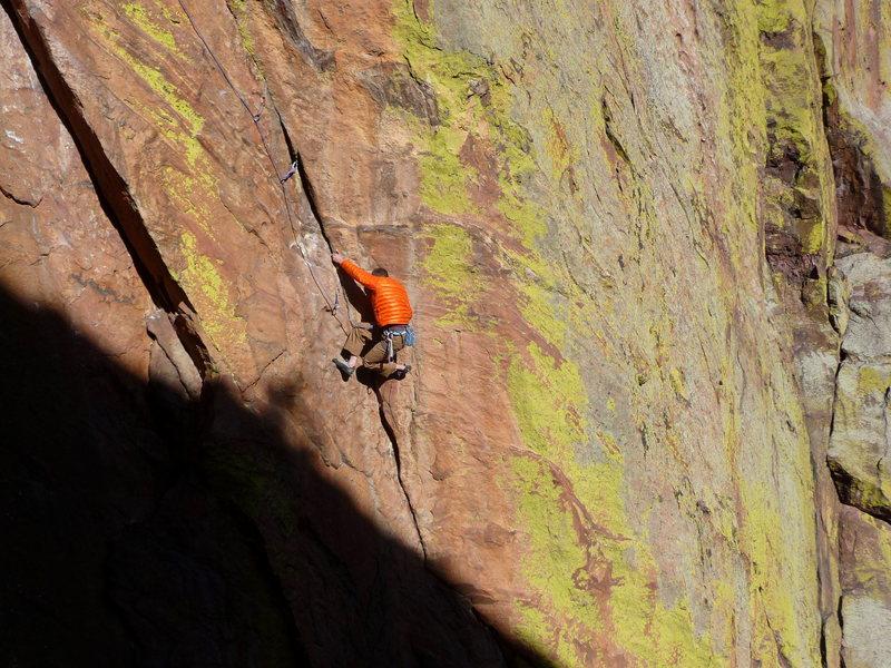 Rock Climbing Photo: Josh following Le Void.
