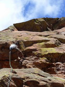 Rock Climbing Photo: Josh leading P1 of Book of Numbers, coming over th...