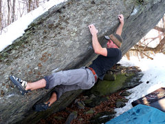 "Rock Climbing Photo: Aaron Parlier 5th move in on the FA of ""Tech-..."