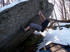 Rock Climbing Photo: Aaron Parlier one move from the top-out on the FA ...
